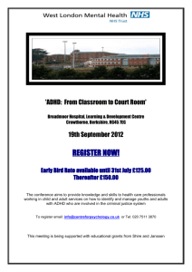 'ADHD: From Classroom to Court Room' Broadmoor Hospital