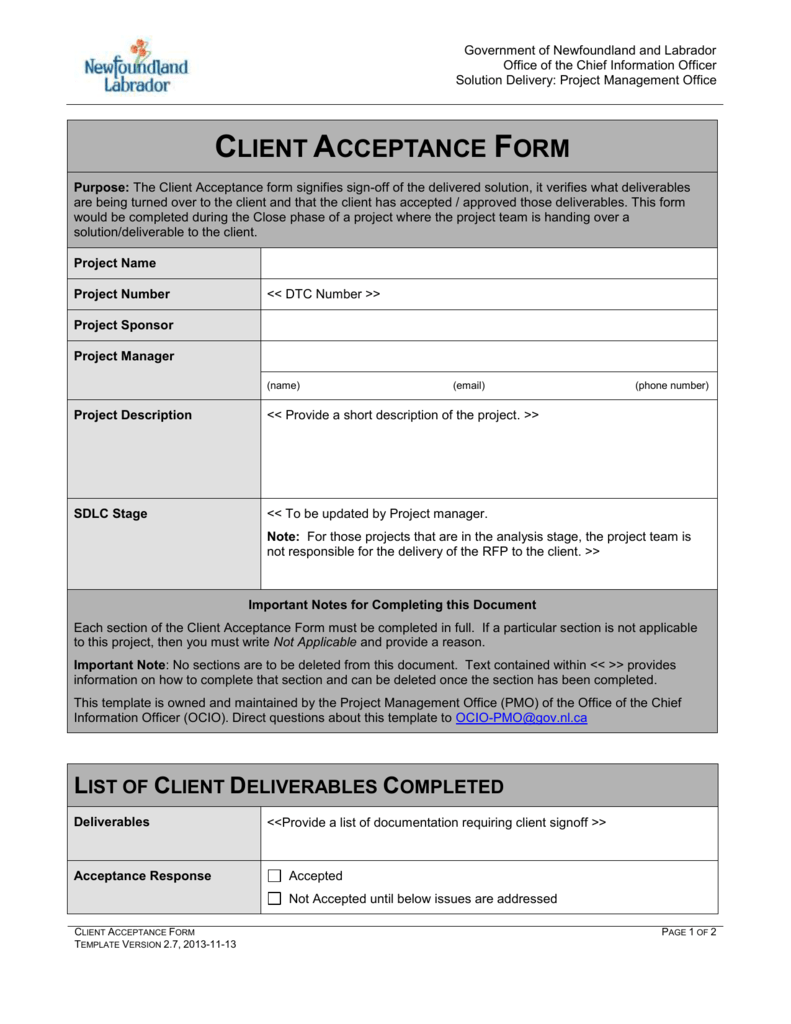 acceptance form template - Ideal.vistalist.co