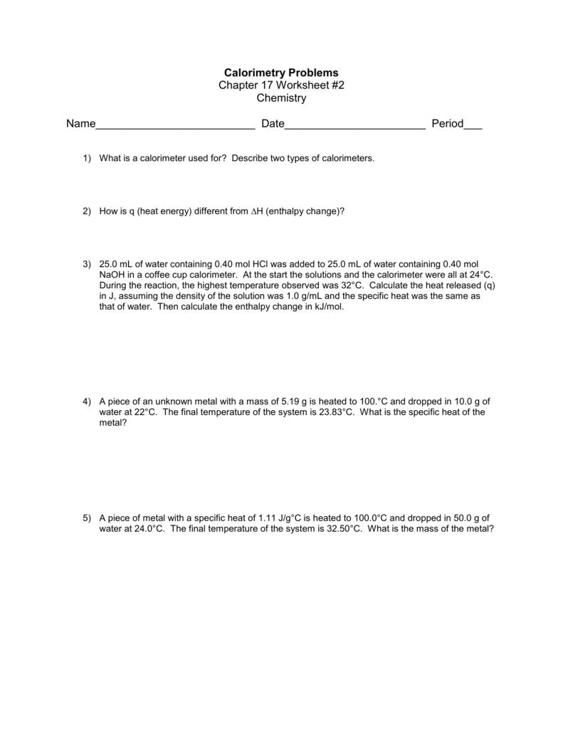 worksheet Calorimetry Worksheet 1 Answers calorimetry problems