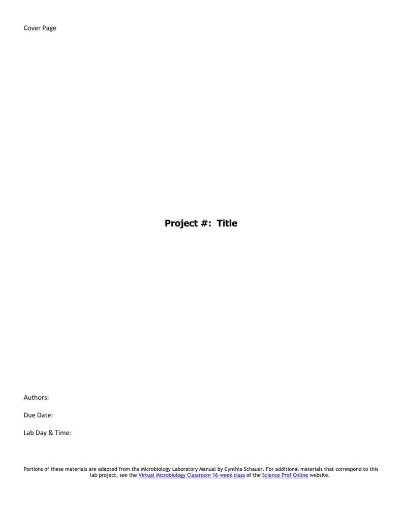 Cover Page For Lab Report
