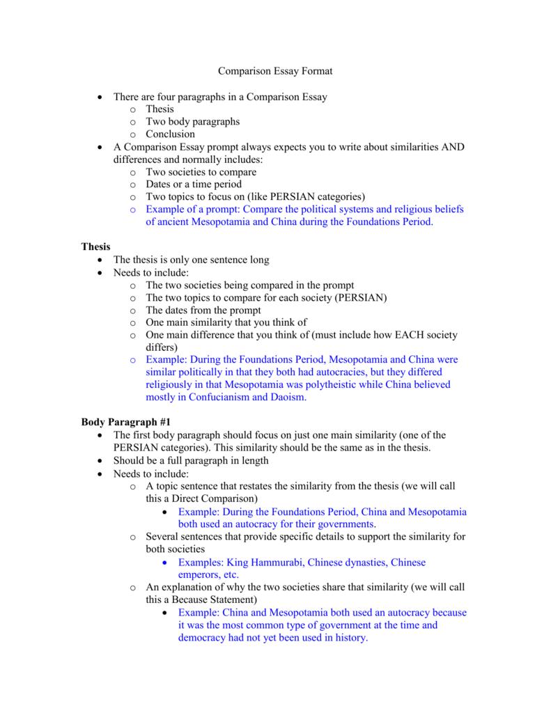 Comparison Essay Format Abeedaaeeffpng