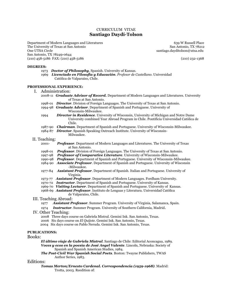 curriculum vitae - UTSA College of Liberal and Fine Arts
