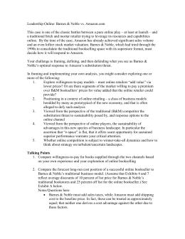 Business Case Studies, Competitive Strategies Case Study, Barnes & Noble vs Amazon.com
