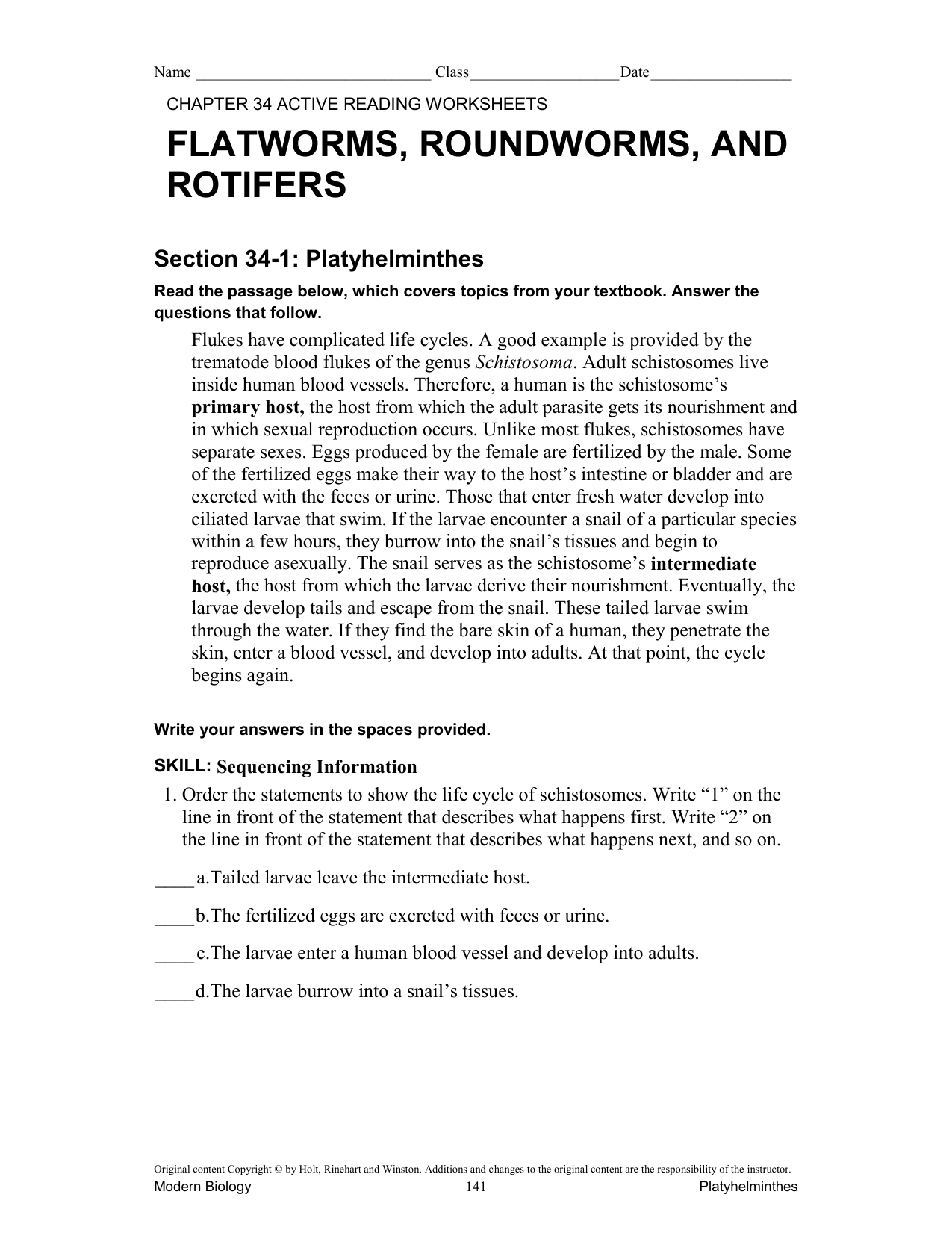 Platyhelminthes – Active Reading Worksheets
