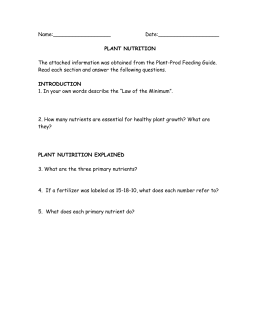Plant Nutrition Worksheet - CIA-Biology-2011-2012