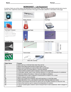 WORKSHEET – Lab Equipment - Liberty Union High School District