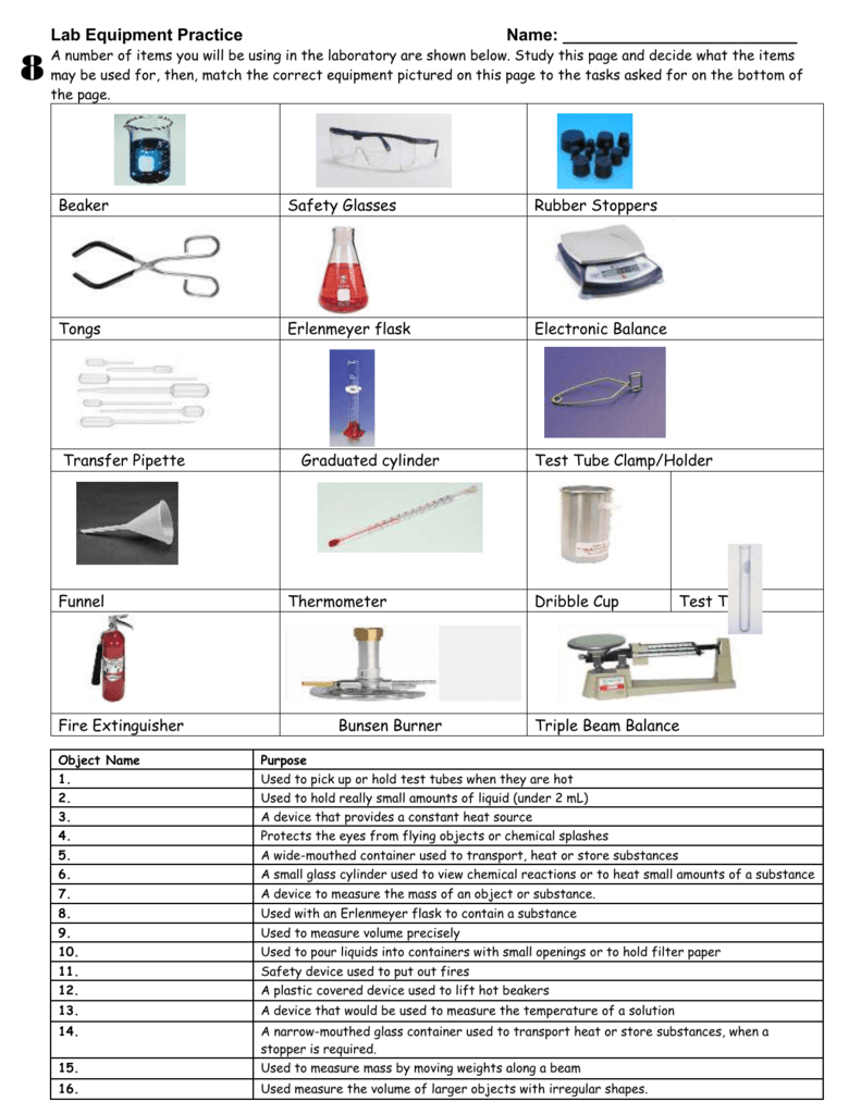 WORKSHEET – Lab Equipment - St. James Physical Science