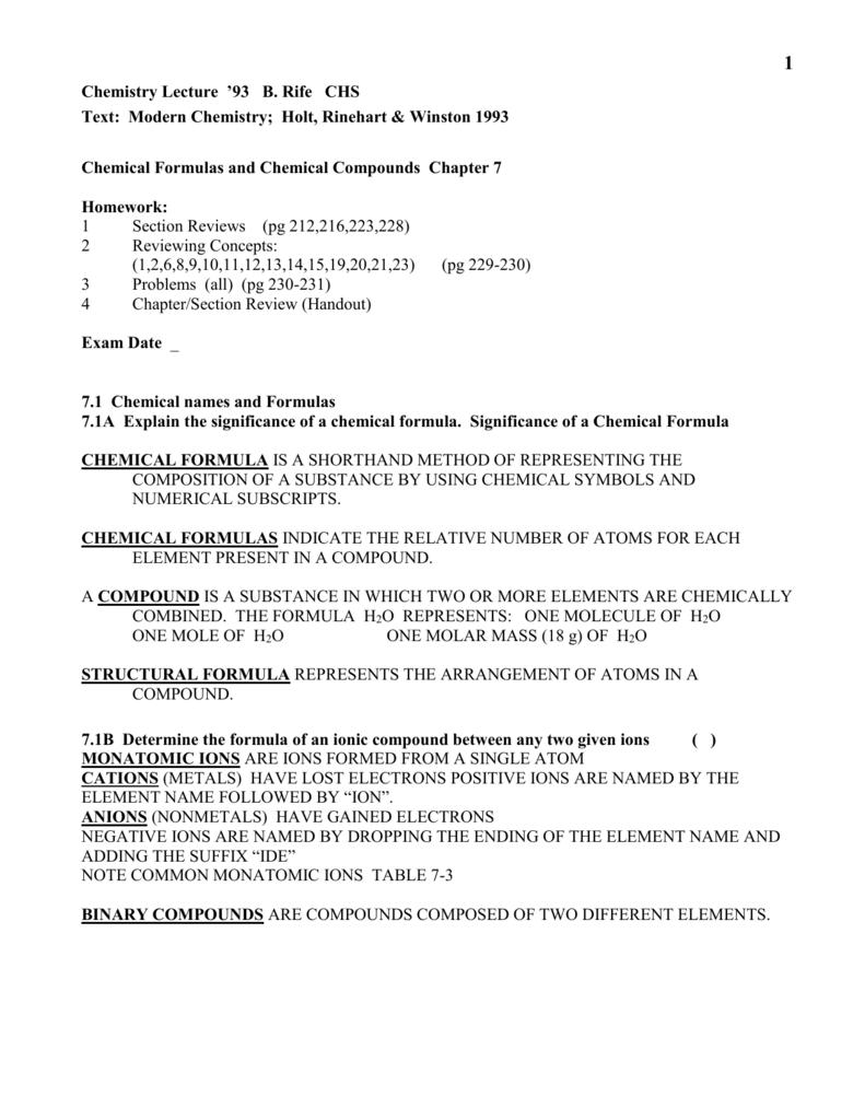 Unit 7 Chap 7 Chemical Formulas And Compounds