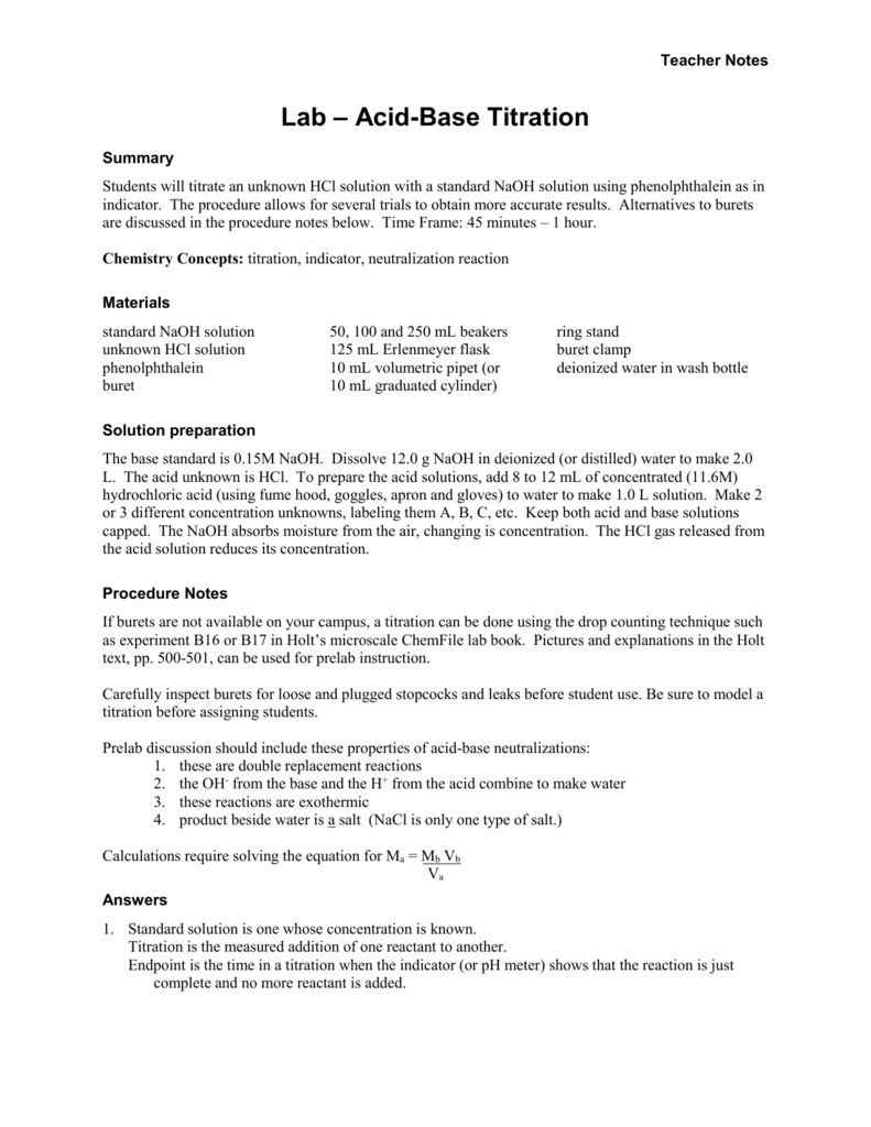 Lab Titration Teacher – Titration Problems Worksheet