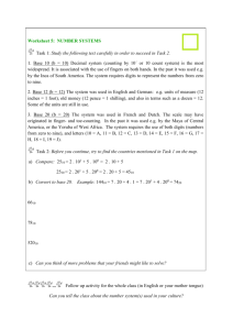Worksheet 5: NUMBER SYSTEMS Task 1: Study the following text