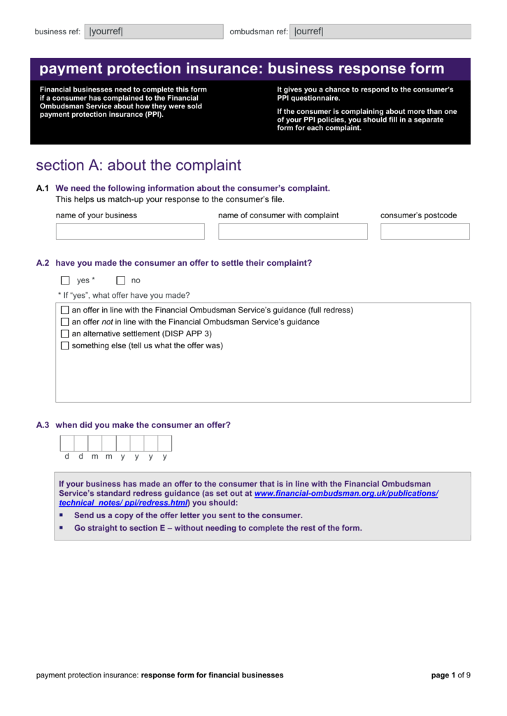 Business Response Form