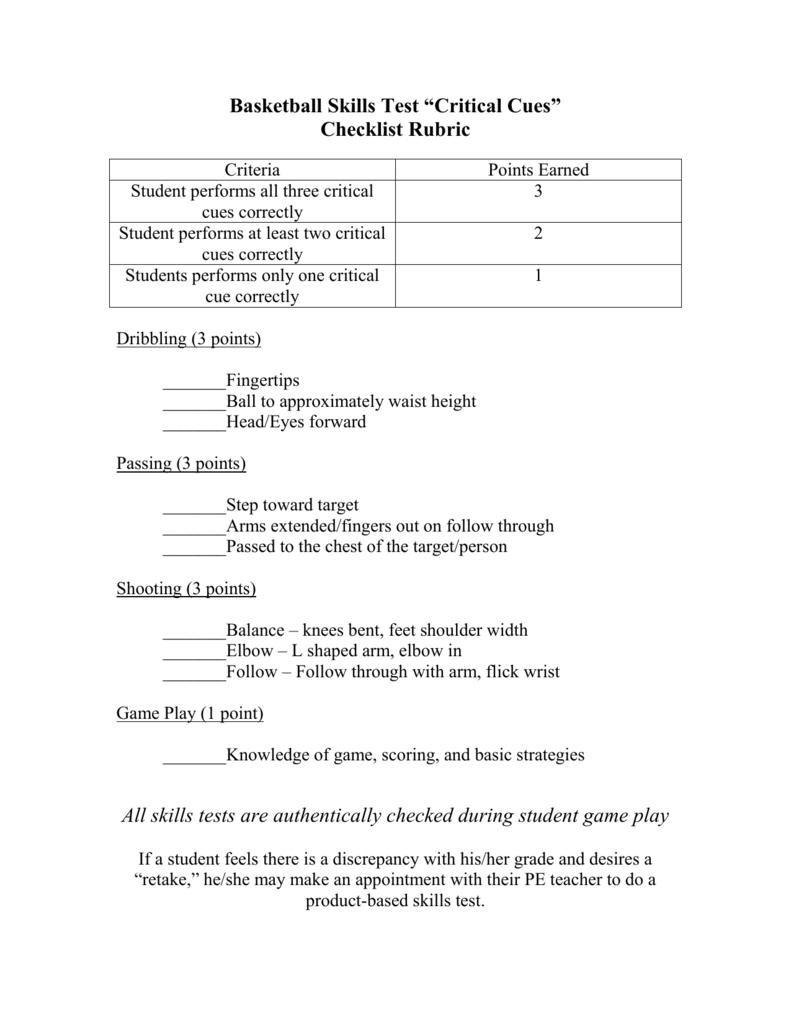 "Basketball Skills Test ""Critical Cues"""