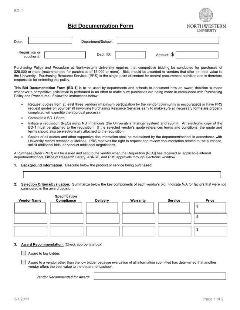 Bid Documentation Form - Northwestern University