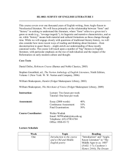 HL1002 Survey of English Literature I