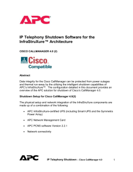 IP Telephony Shutdown Software for the InfraStruXure™ Architecture