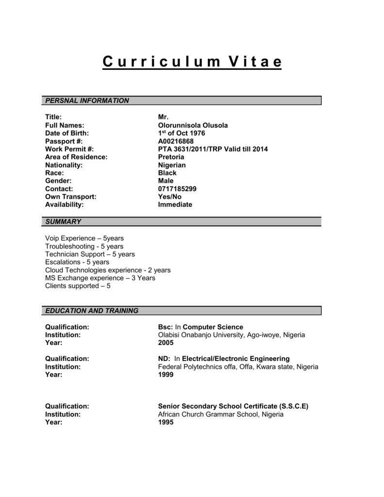 C urriculum V itae - Rocket Science Recruitment