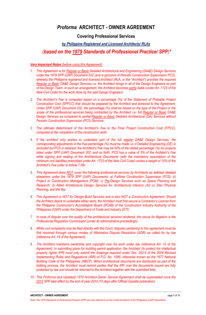 Profroma Architect Owner Agreement