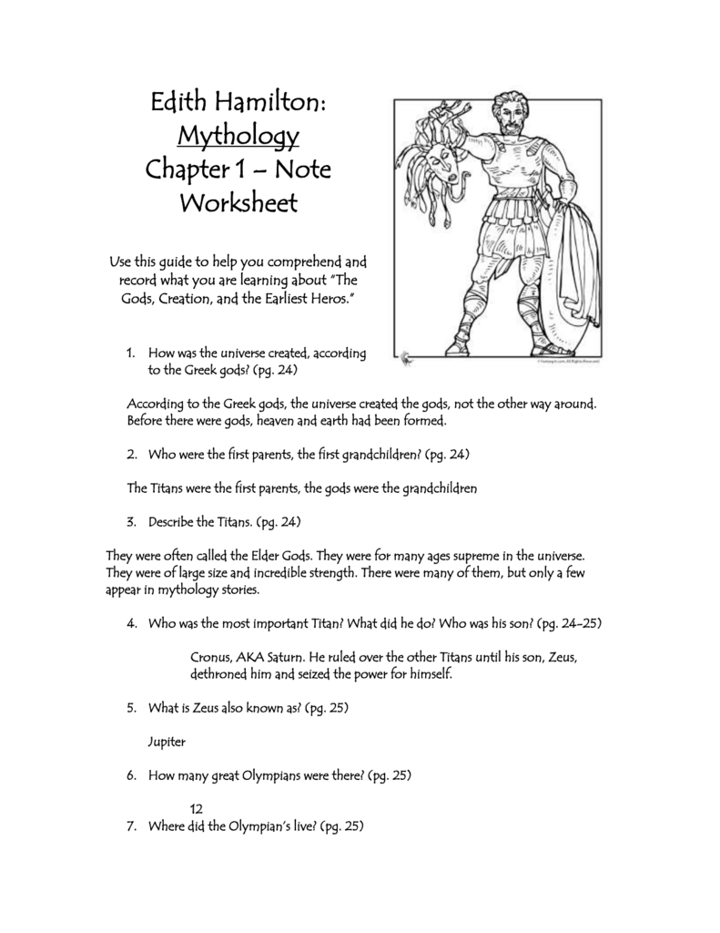 worksheet Greek Mythology Worksheets edith hamilton mythology