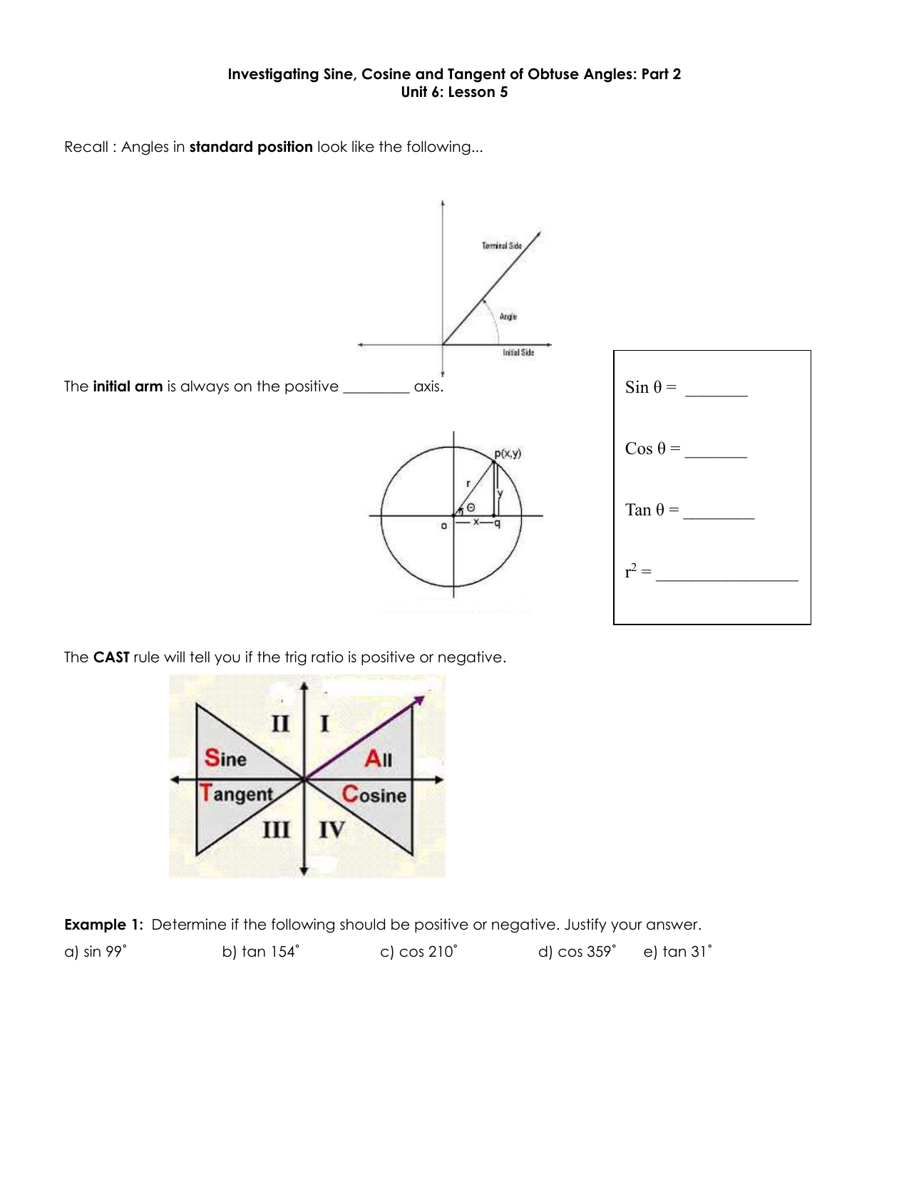 Investigating Sine, Cosine and Tangent of Obtuse Angles