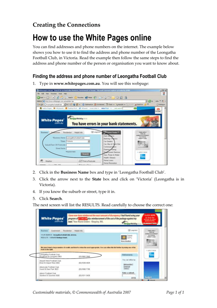white pages and online and australia