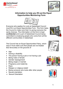 Information to help you fill out the Equal Opportunities Monitoring Form