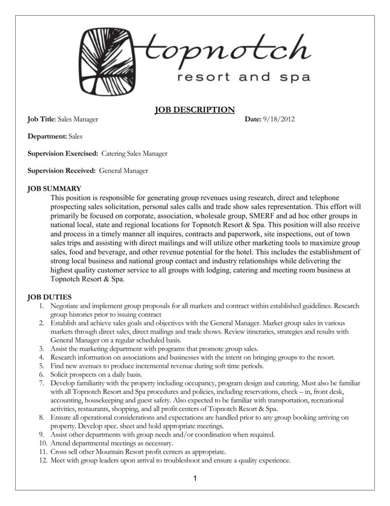Job Description Metwest Terra Hospitality