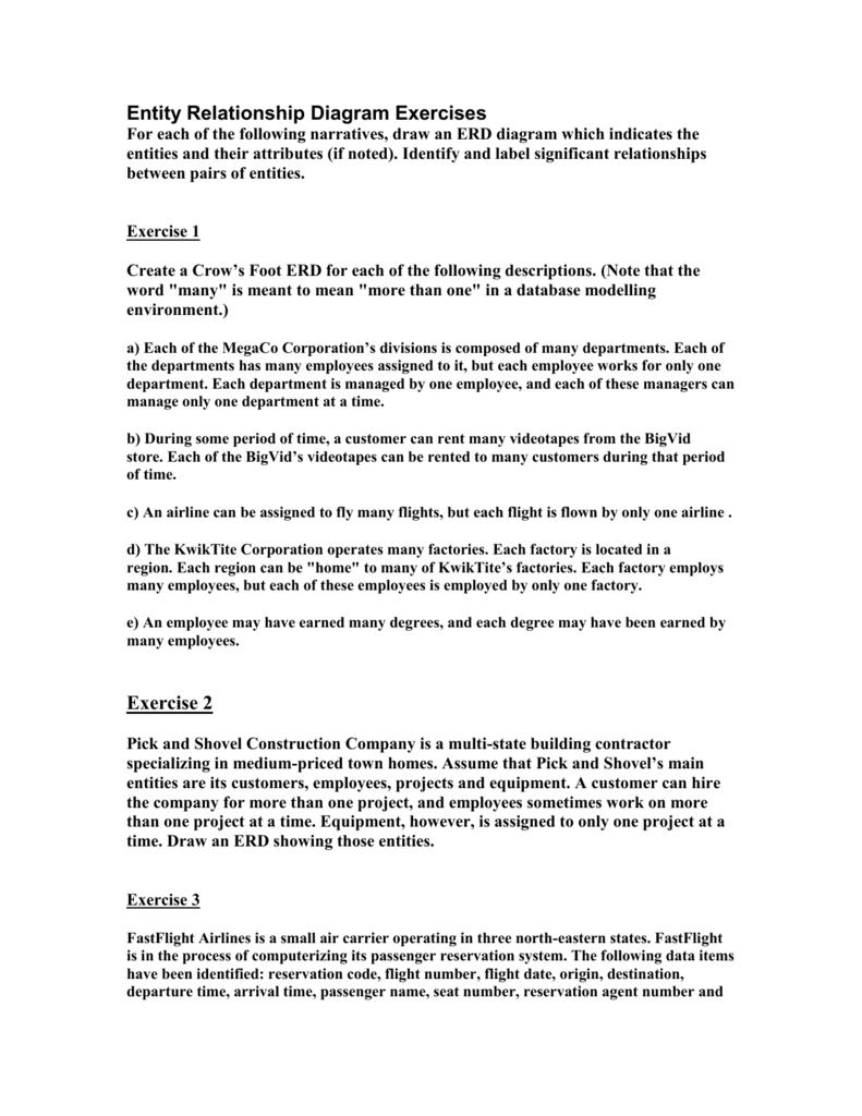 Erd Exercises Seneca School Of Information Communications