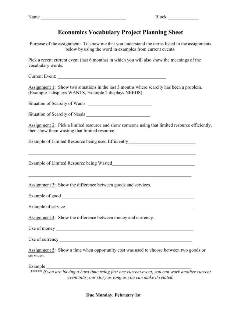 economics vocabulary project planning sheet