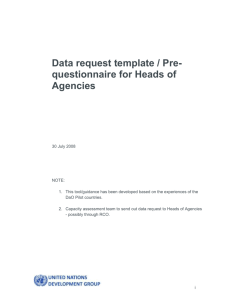 Data request template/Pre-interview questionnaire