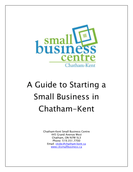 Starting a Small - Municipality of Chatham-Kent