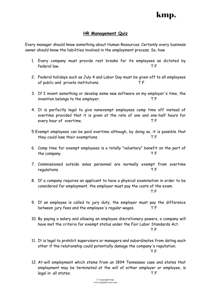 employee relations exam questions