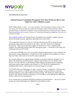 FOR IMMEDIATE RELEASE National Science Foundation