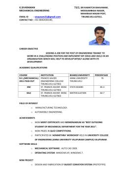 Resume bangalore