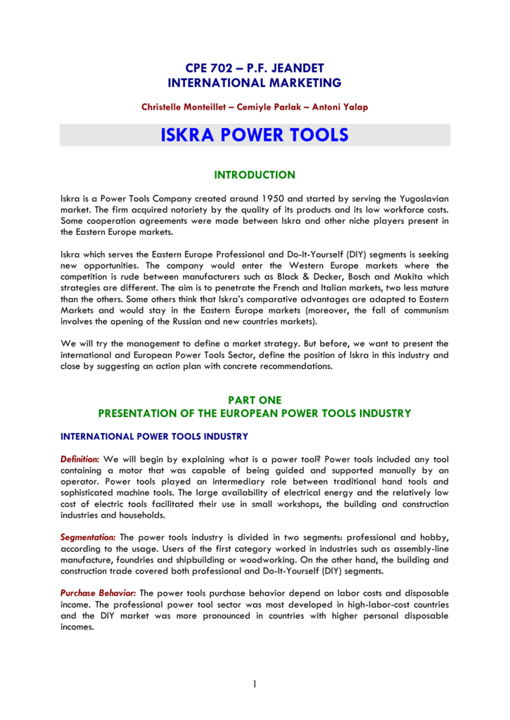 Iskra power tools market position solutioingenieria Gallery