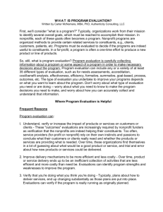 WHAT IS PROGRAM EVALUATION? Written by Carter McNamara