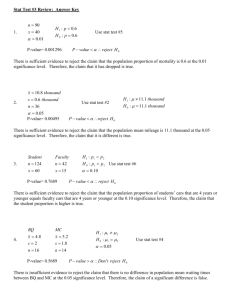 Stat Test #3 Review: Answer Key