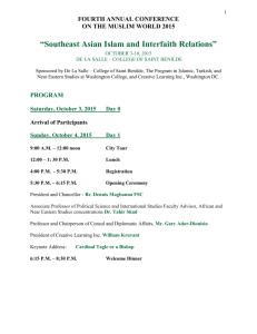 1 FOURTH ANNUAL CONFERENCE ON THE MUSLIM WORLD