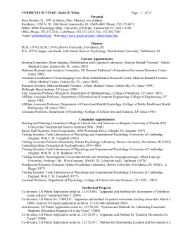 Dr. Keith White's CV