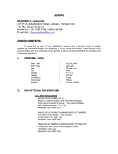 RESUME DANIMER G. CABAHUG 223 9th st. Doña Rosario Village