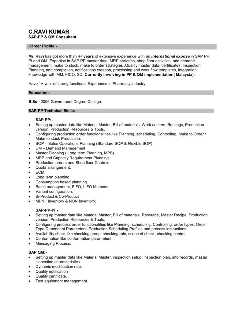 SAP QM Responsibilities: Support