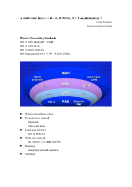A multi ratio future -- Wi-Fi, WiMAX, 3G : Complementary