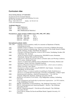 Curriculum vitae - Göteborgs universitet