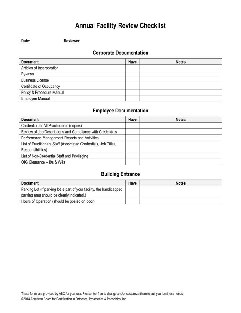 Annual Facility Review Checklist American Board For Certification