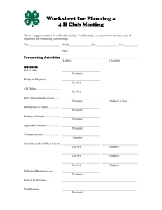 Worksheet for Planning a 4-H Club Meeting - Indiana State 4-H