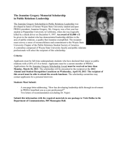 The Jeannine Gregory Scholarship in Public Relations Leadership