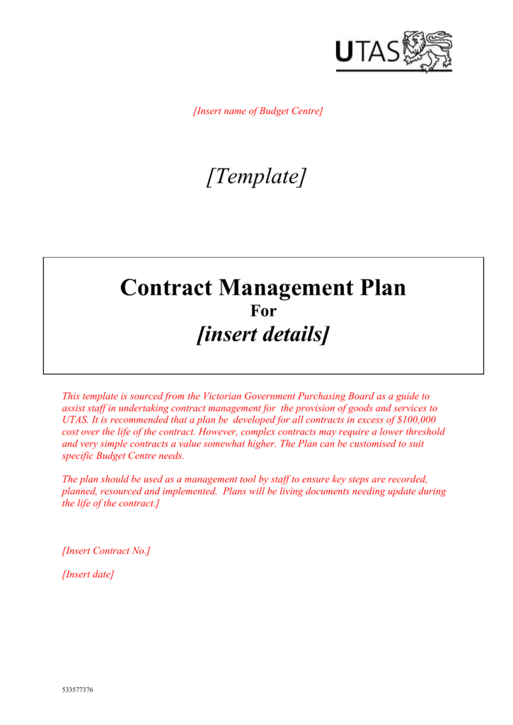 Sample Contract Management Plan