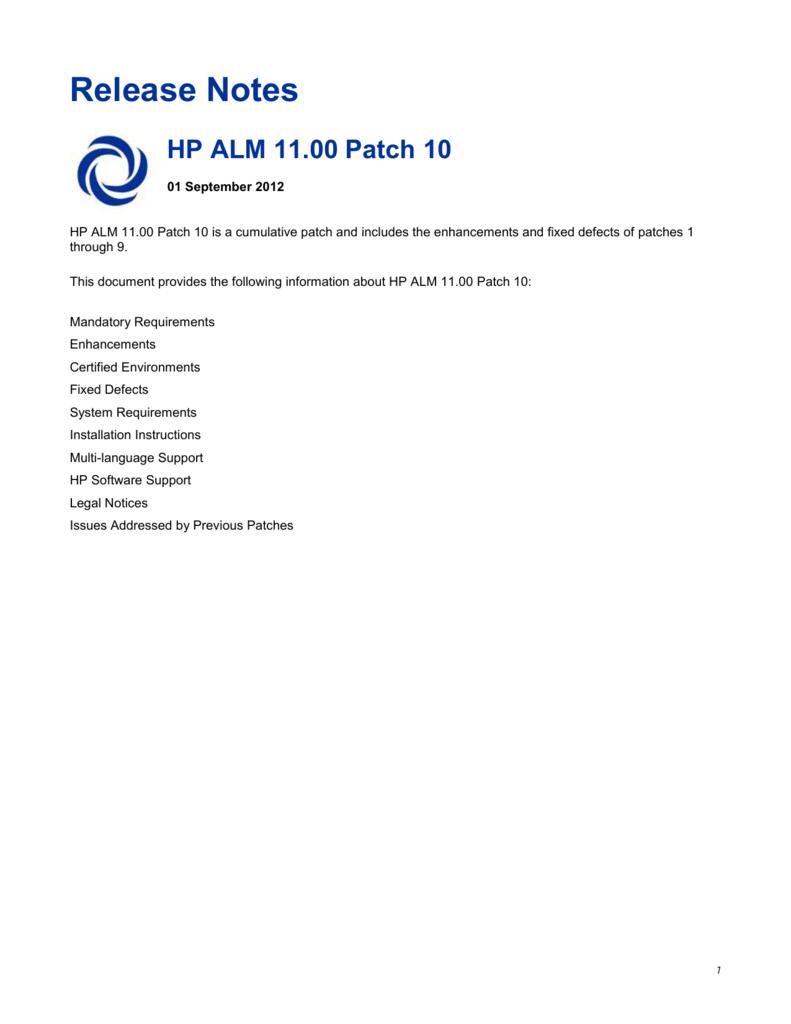 HP ALM 11 00 Patch 10
