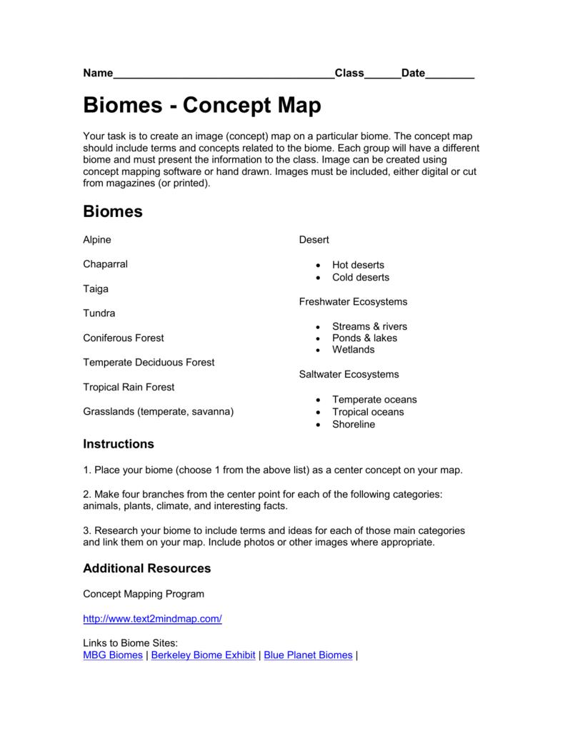 Biomes Concept Map Crestwood Local Schools