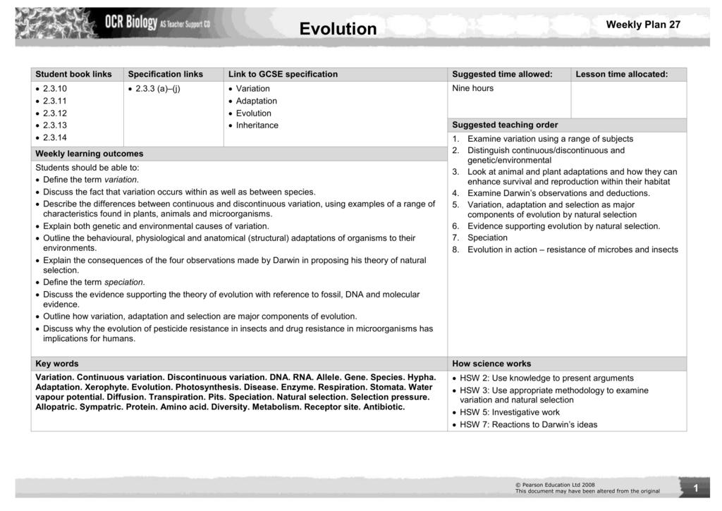 File – Evolution by Natural Selection Worksheet