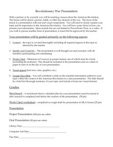 American Revolution Project Information Sheet